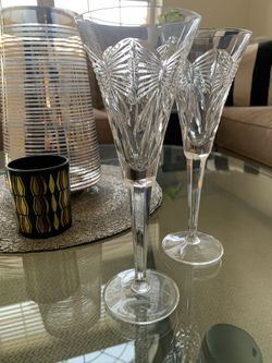 Retired Waterford Crystal Toasting Champagne Flutes Thumbnail