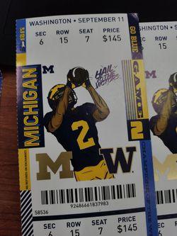 4 Michigan Versus Washington Tickets September 11th Thumbnail