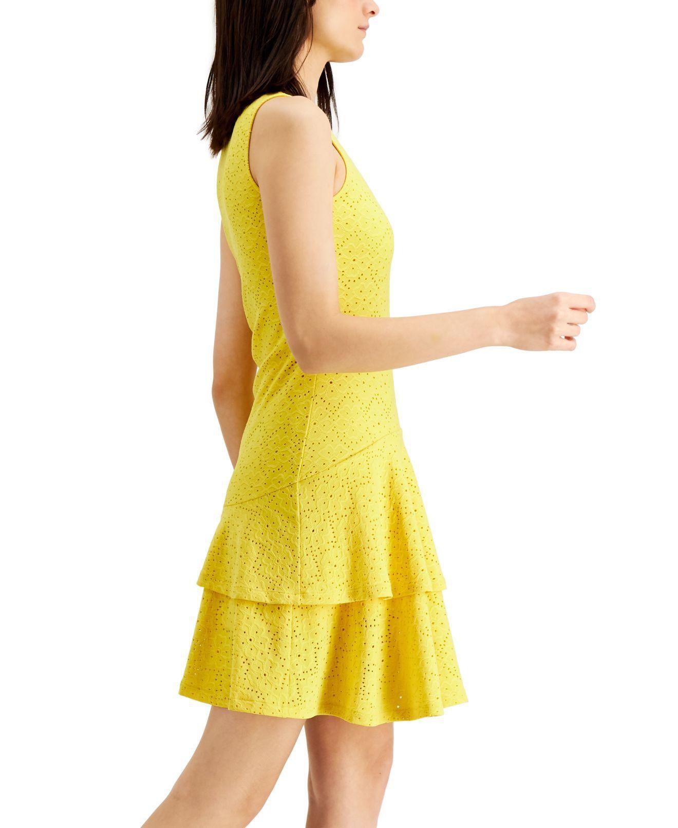 MICHAEL Michael Kors Women's Dress Bright Yellow Size Large L A-Line