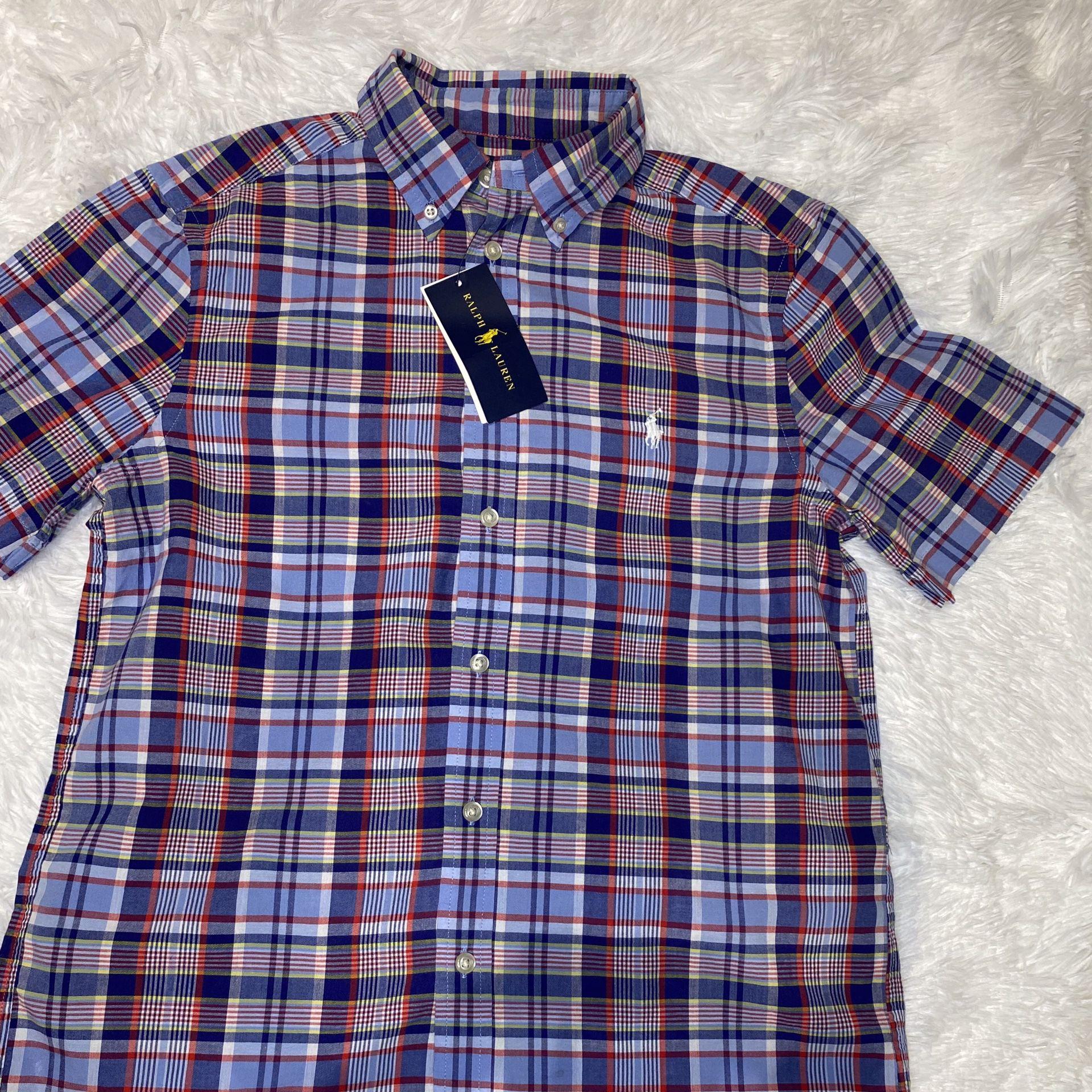Polo Oxford Shirt Blue Plaid