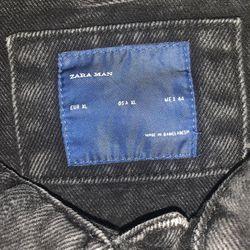 Zara Black Denim Jean Jacket Thumbnail