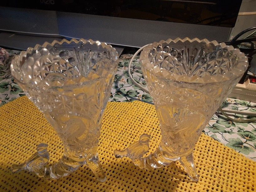 TWO GORGEOUS LOOKING  BIRD  VASES  CRYSTAL GLASS