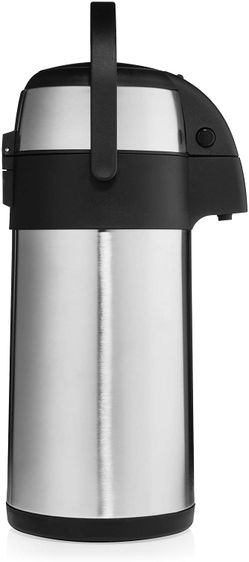 Airpot Coffee Dispenser with Pump/Stainless Steel Thermal Coffee Carafe - Three Liter (102 oz.) Hot Beverage Dispenser with On/Off Pump Switch - Vacuu Thumbnail