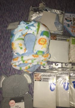Baby onesies baby knit set baby burp clothes baby fitted crib sheet baby blanket & neck pillow set Thumbnail