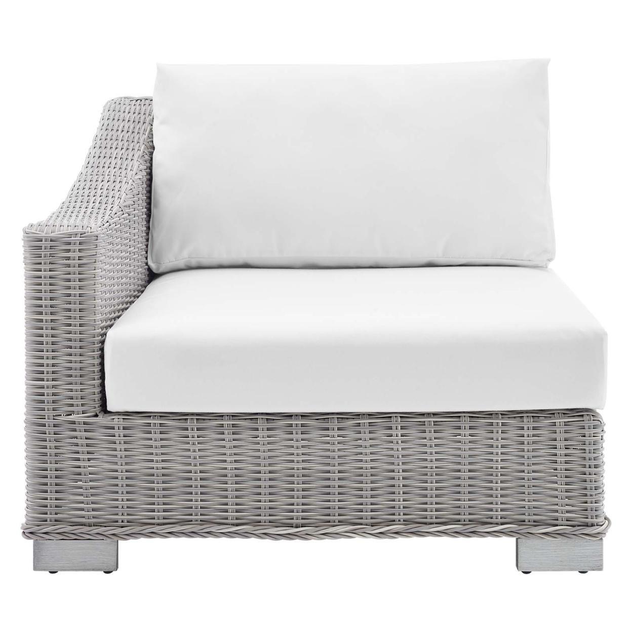 Conway Sunbrella� Outdoor Patio Wicker Rattan Left-Arm Chair, Light Gray White