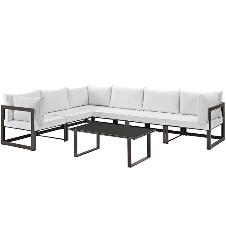 Fortuna 7 Piece Outdoor Patio Sectional Sofa Set, Brown White
