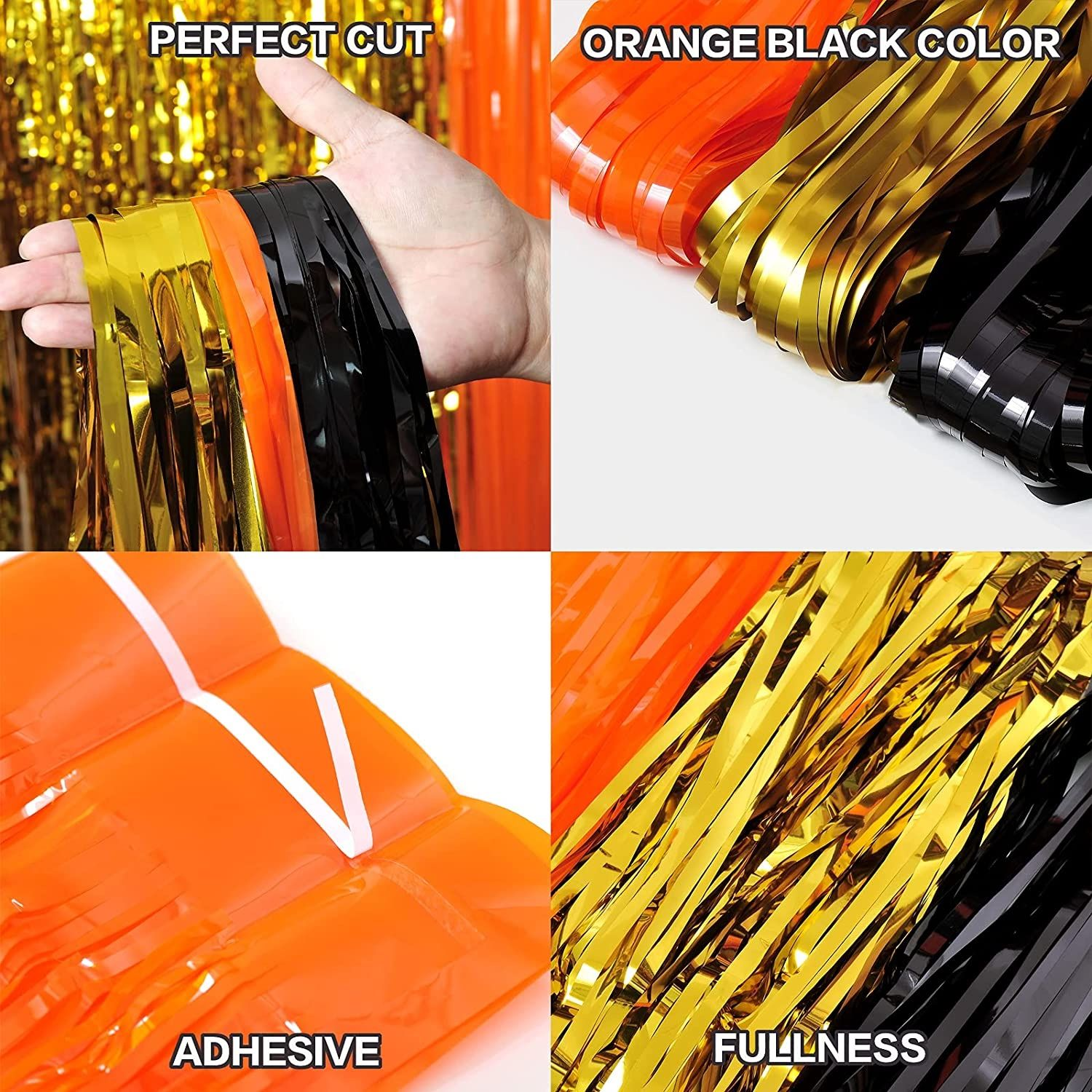 3 Packs Halloween Tinsel Foil Fringe Curtains Black Orange Gold with 8 Pcs Pull Flag Halloween Theme Party Supplies for Halloween Party Photo Backdrop