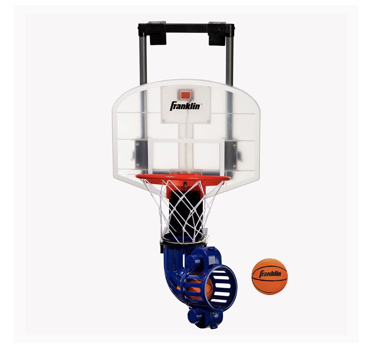 Franklin Sports Mini Basketball Hoop with Rebounder and Ball - Over The Door Basketball Hoop With Automatic Ball Rebounder - Indoor For Kids