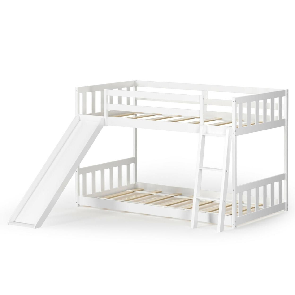 Gymax Twin over Twin Bunk Wooden Low Bed with Slide Ladder for Kids