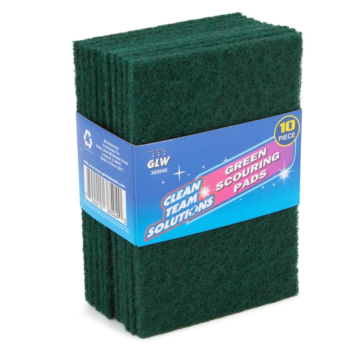 Clean Team Solutions (10 Pack) Green Scouring Pads For Dishes Scrub Pad Scouring Sponges Kitchen Cleaning Supplies