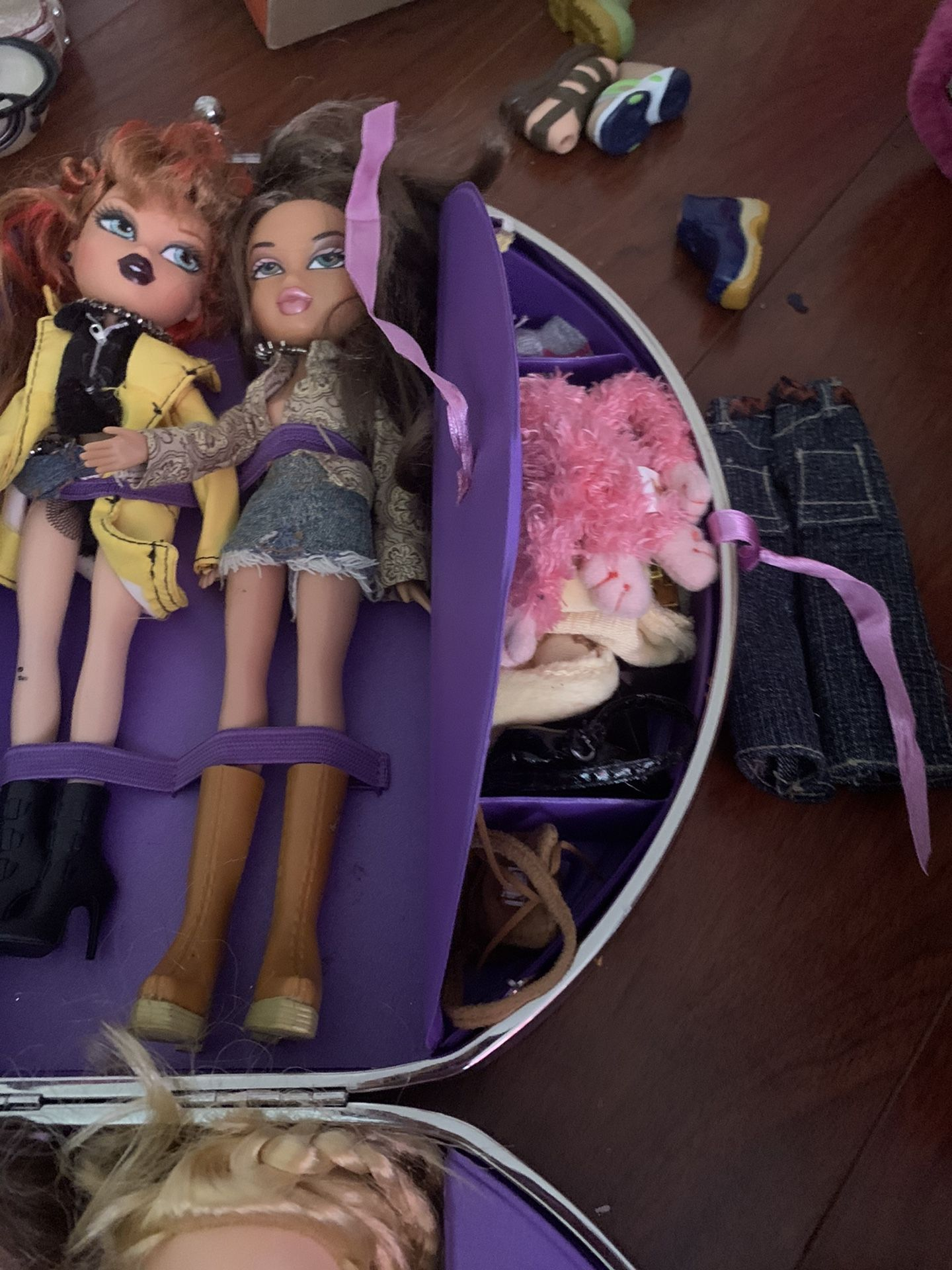 Bratz dolls with case and over 100 dollars in accessories