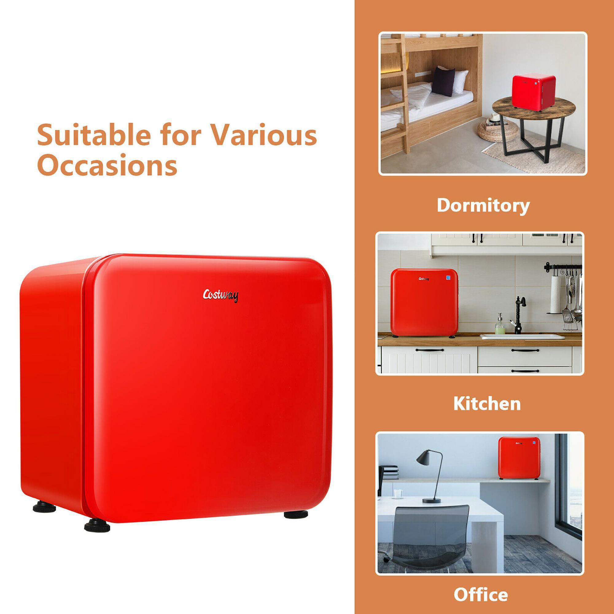 Costway 1.6 Cubic Feet Compact Refrigerator Reversible Door Mini Fridge Red