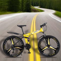 26 inch 21 Speeds Folding Mountain Bikes High Carbon Steel Bicycle Three Knives Wheel Shockproof Mountain Bike Adult Thumbnail