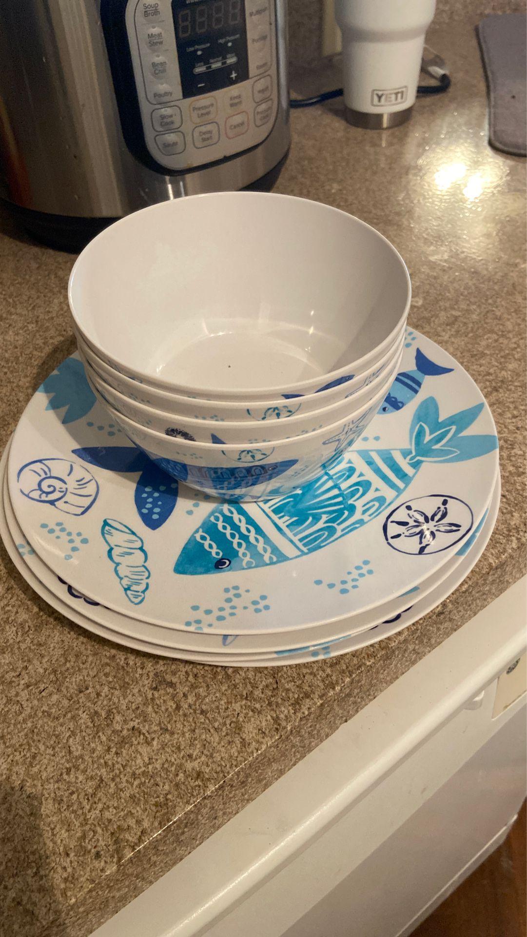 Light Blue Fish Design Plates and Bowls