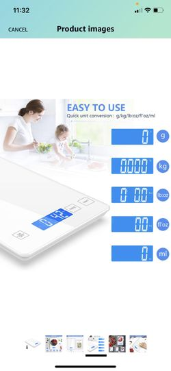 Nicewell Food Scale, 22lb Digital Kitchen White Scale Weight Grams and oz for Cooking Baking, 1g/0.1oz Precise Graduation,Tempered Glass Scale Thumbnail