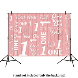7x5ft photography backdrops 1st birthday party event banner pink wood floor Newborn props photo studio booth background Thumbnail