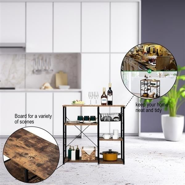 Hodely 5-Layer MDF Industrial Wrought Iron Kitchen Shelf With Drain Basket Hook