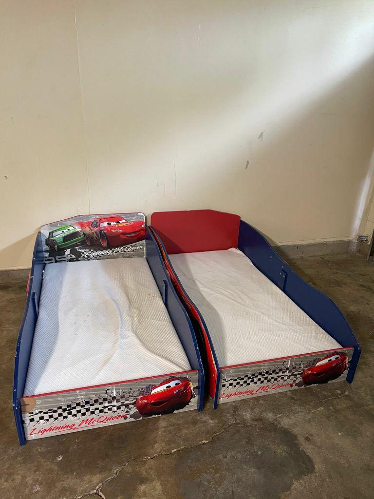 2 Kids Car Beds With Memory Foam Mattress