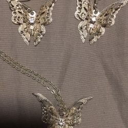 Filigree Sterling Silver Butterfly Set Thumbnail