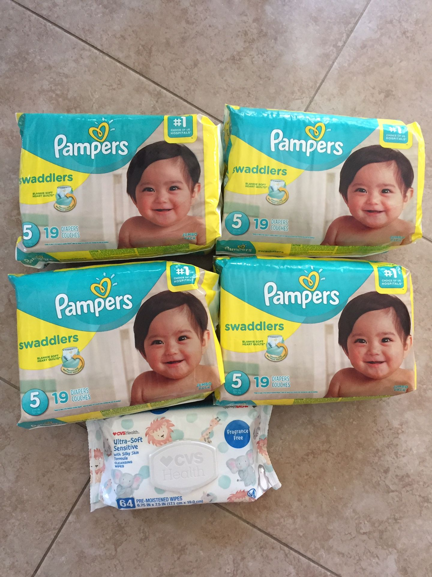 Pampers size 5t -and wipes 64ct $28