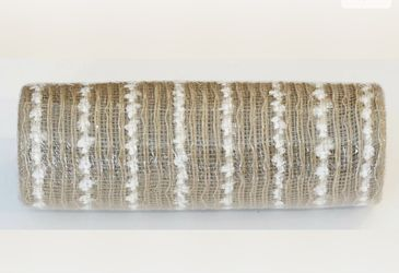 """Deco Mesh 10"""" Snowball NATURAL w/white Snowball Stripe. Very Luxe 30' Waterproof-2ROLLS Thumbnail"""