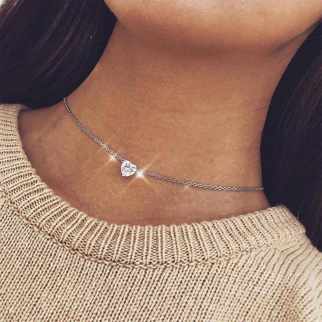 Crystal Heart Choker Necklace