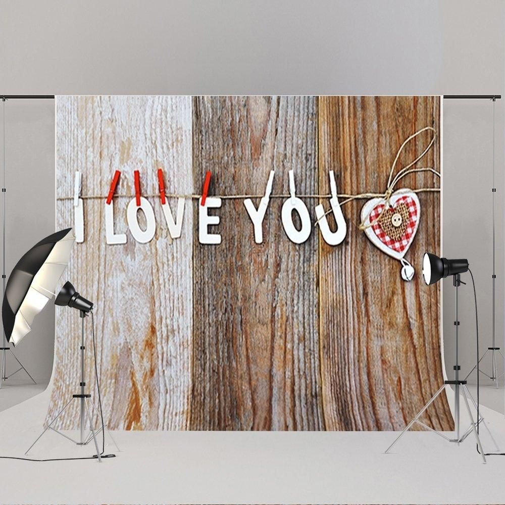 7x5ft Wood Backdrops Valentine's Day Background Photo Booth Props