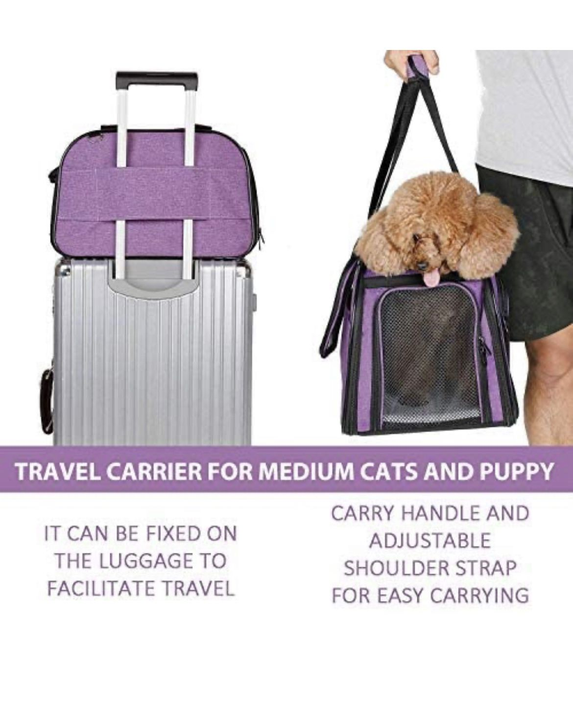 Pet Carrier for Dog and Cats, Airline Approved Soft-Sided Pet Travel Carrier,Portable Kennel for Puppies