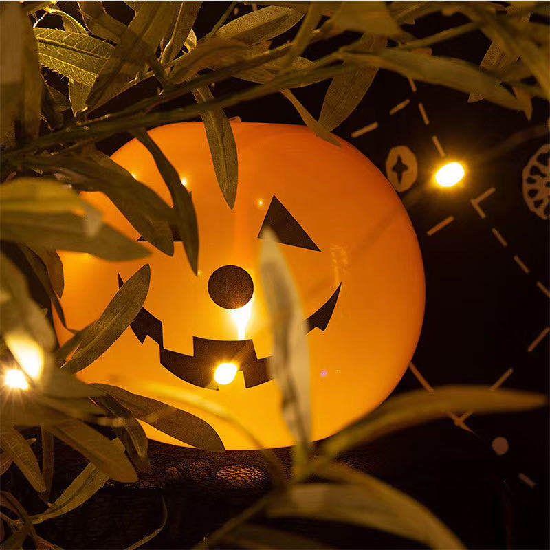 Halloween Decorations (20 Halloween Pumpkin LED Light Up Balloons With Pump)