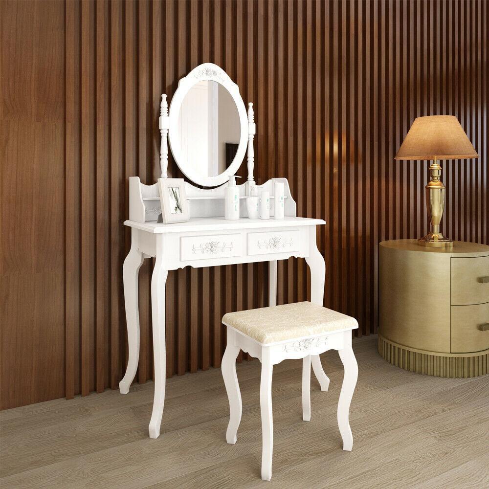 White 4 Drawer Wood Vanity Makeup Dressing Table Set w/Stool, Jewelry Drawer, Mirror Desk