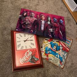 Coca Cola Clock, Guardians Of The Galaxy & Captain America Tin Signs Thumbnail