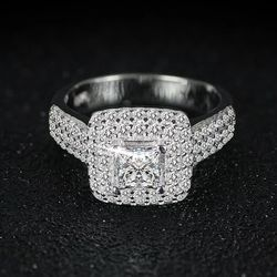 Stamped 925 Sterling ilver Wedding/promise/Engagement RING Thumbnail