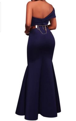 Women's Sexy Off The Shoulder Oversized Bow Applique Evening Gown Party Maxi Dress   Thumbnail