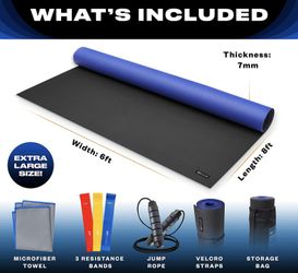 Large Exercise Mat Extra Large Yoga Mat Exercise Mats for Home Gym Equipment Large Workout Mat Extra Wide  Thumbnail