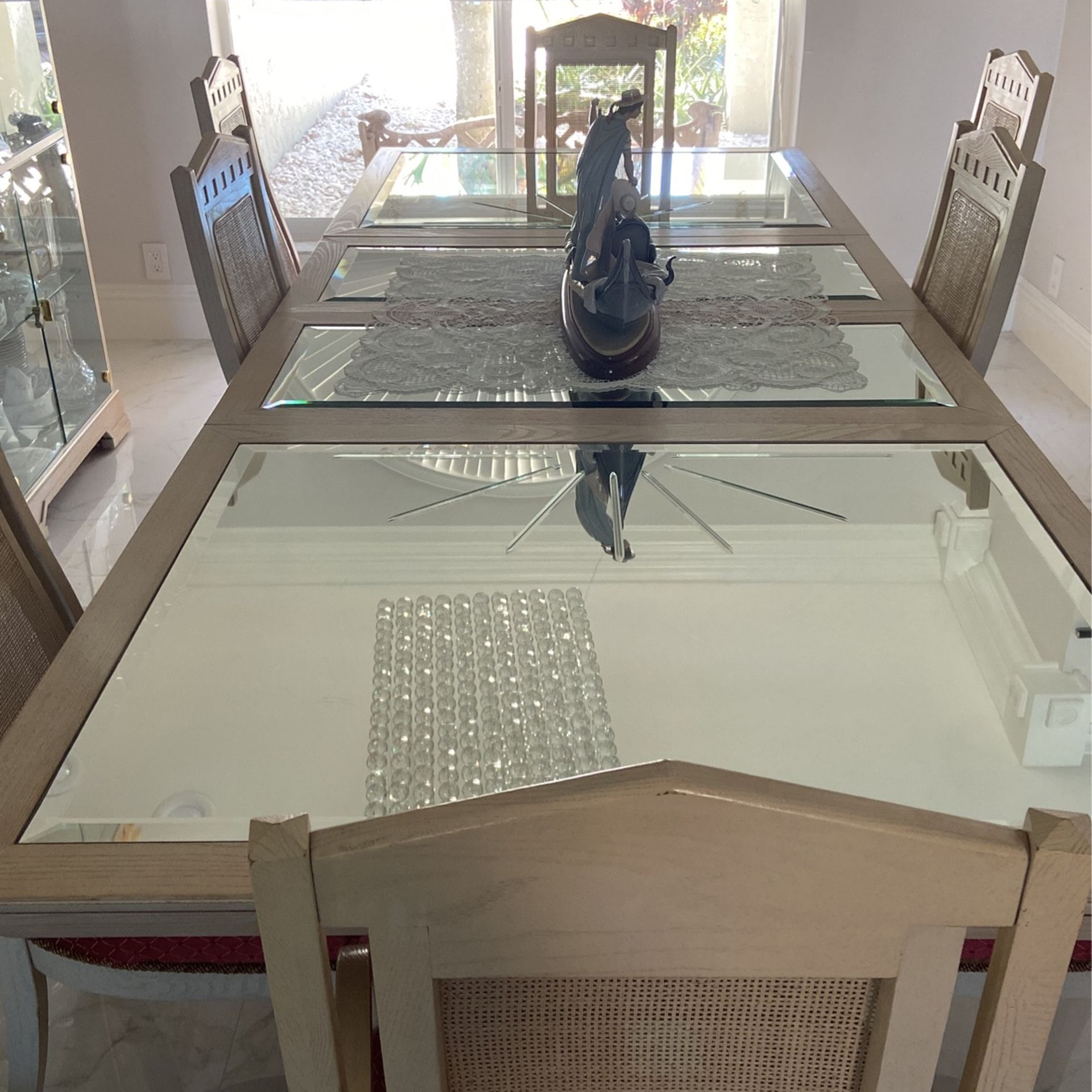 Farm Wooden Table Glass Top 8 Chairs