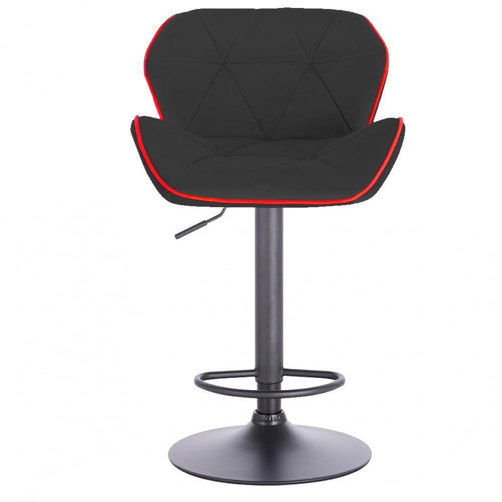 Modern Home Luxe Spyder Contemporary Adjustable Barstool/Bar Chair with 360° Rotation (Black Base, Black/Red Piping)