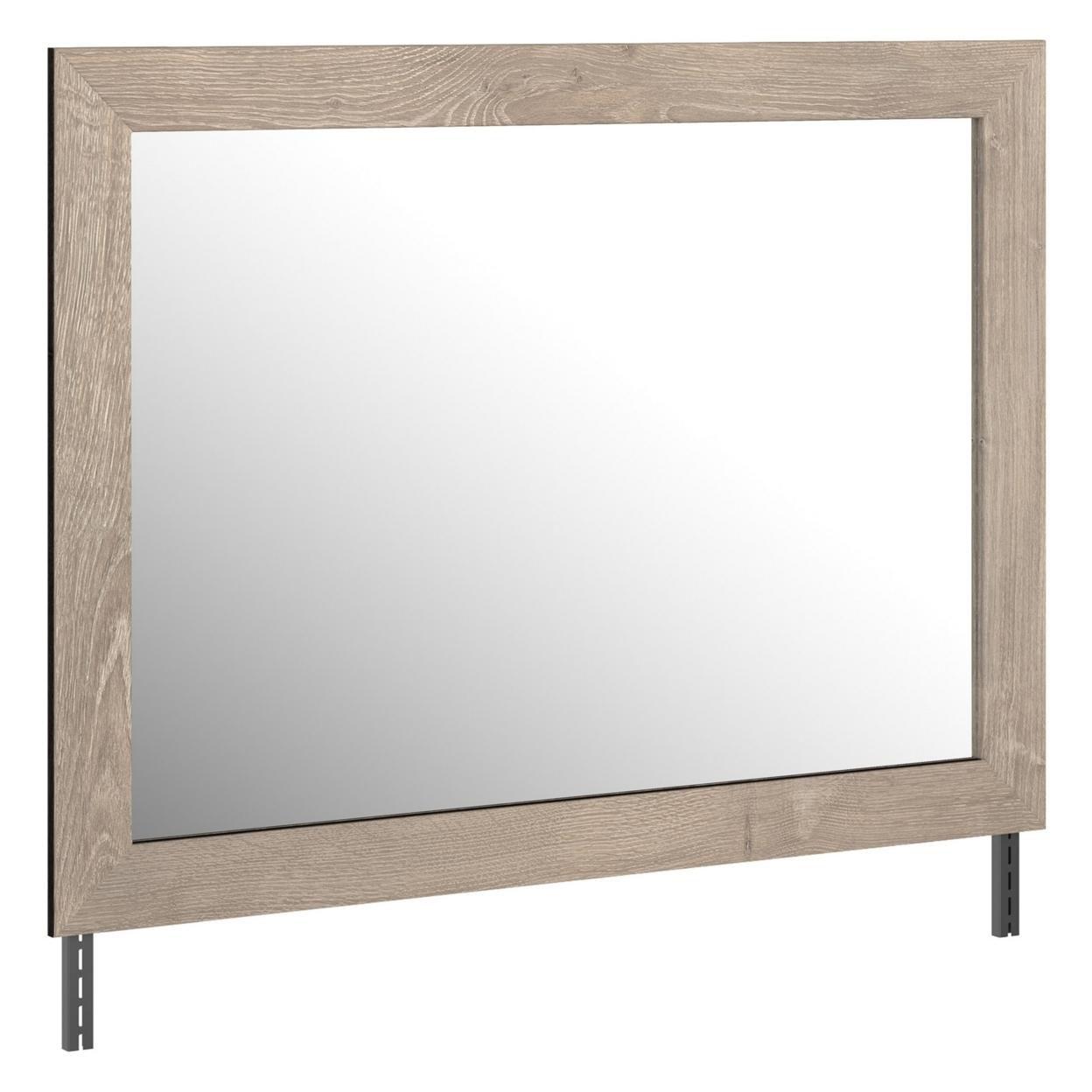 Bedroom Mirror with Grains and Rectangular Encasing, Oak Brown, Saltoro Sherpi