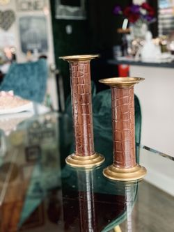 Brass & Leather Candle Stick Holders Thumbnail
