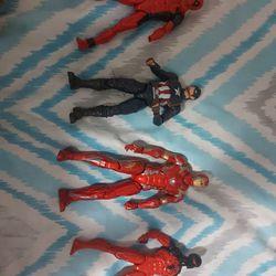 5 Marvel Action Figures, Deadpool, Iron Man, Ant Man, Captain America, Spiderman Thumbnail