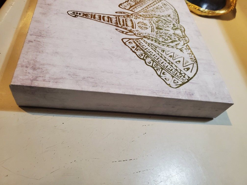 10X10 Canvas Gold Elephant Head