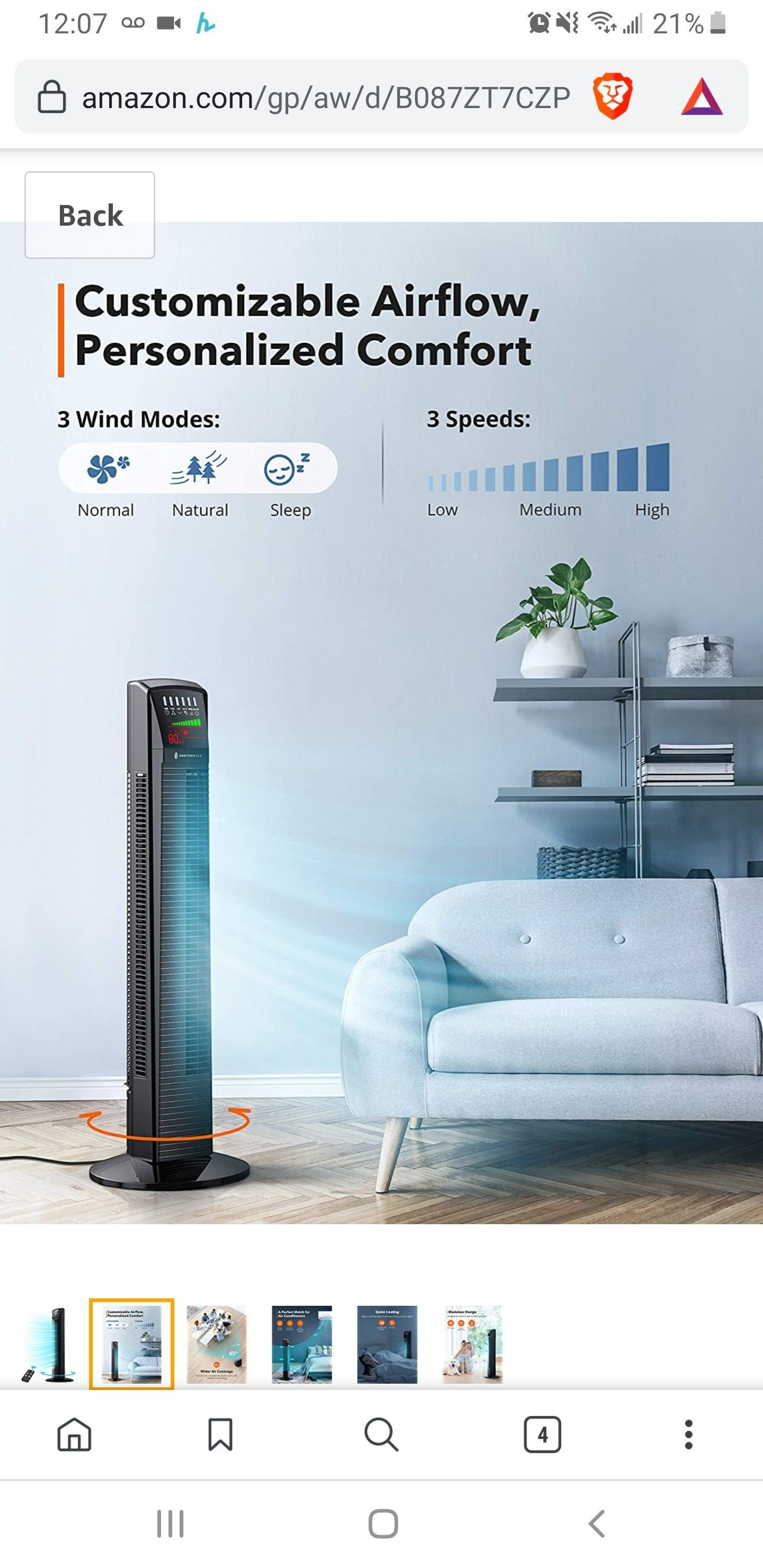 New in sealed box, Tower Fan Oscillating Fan Powerful Floor Fan with Remote and Large LED Display, 9 Modes, Easy Clean, Up to12H Timer Bladeless Fan