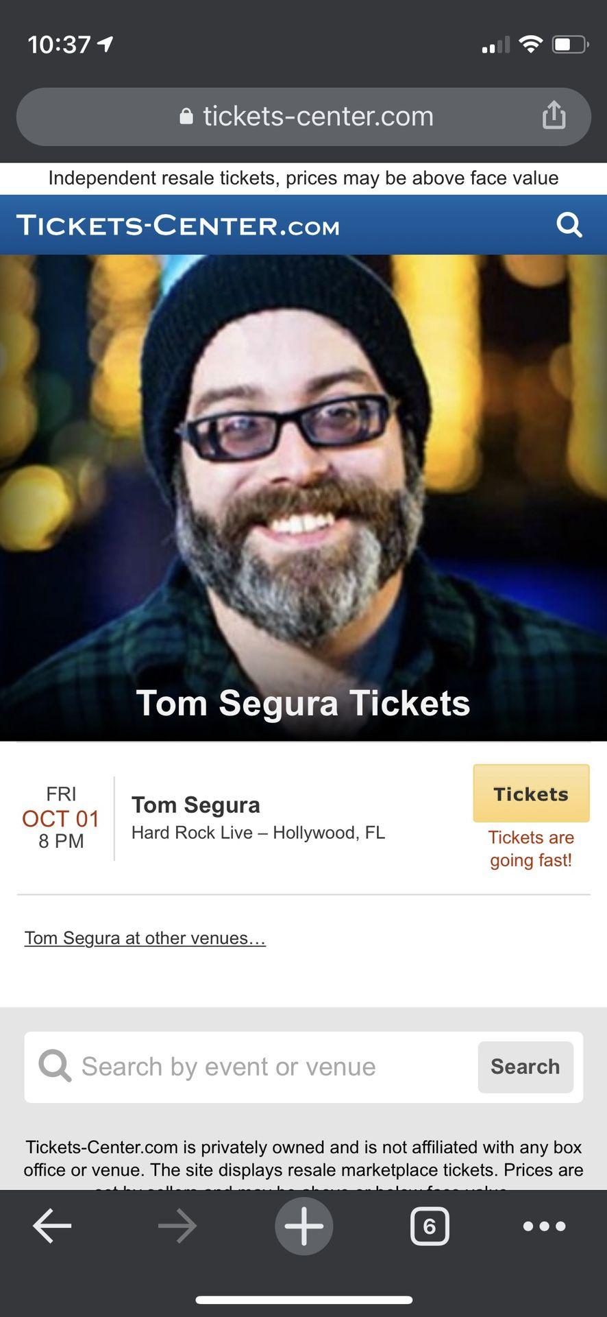 Tom Segur - Two Tickets 10/1/2021 Hard Rock