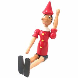 """12"""" Vintage Italian Wooden Pinocchio Doll Toy Repositionable Jointed Limbs-Liar Thumbnail"""