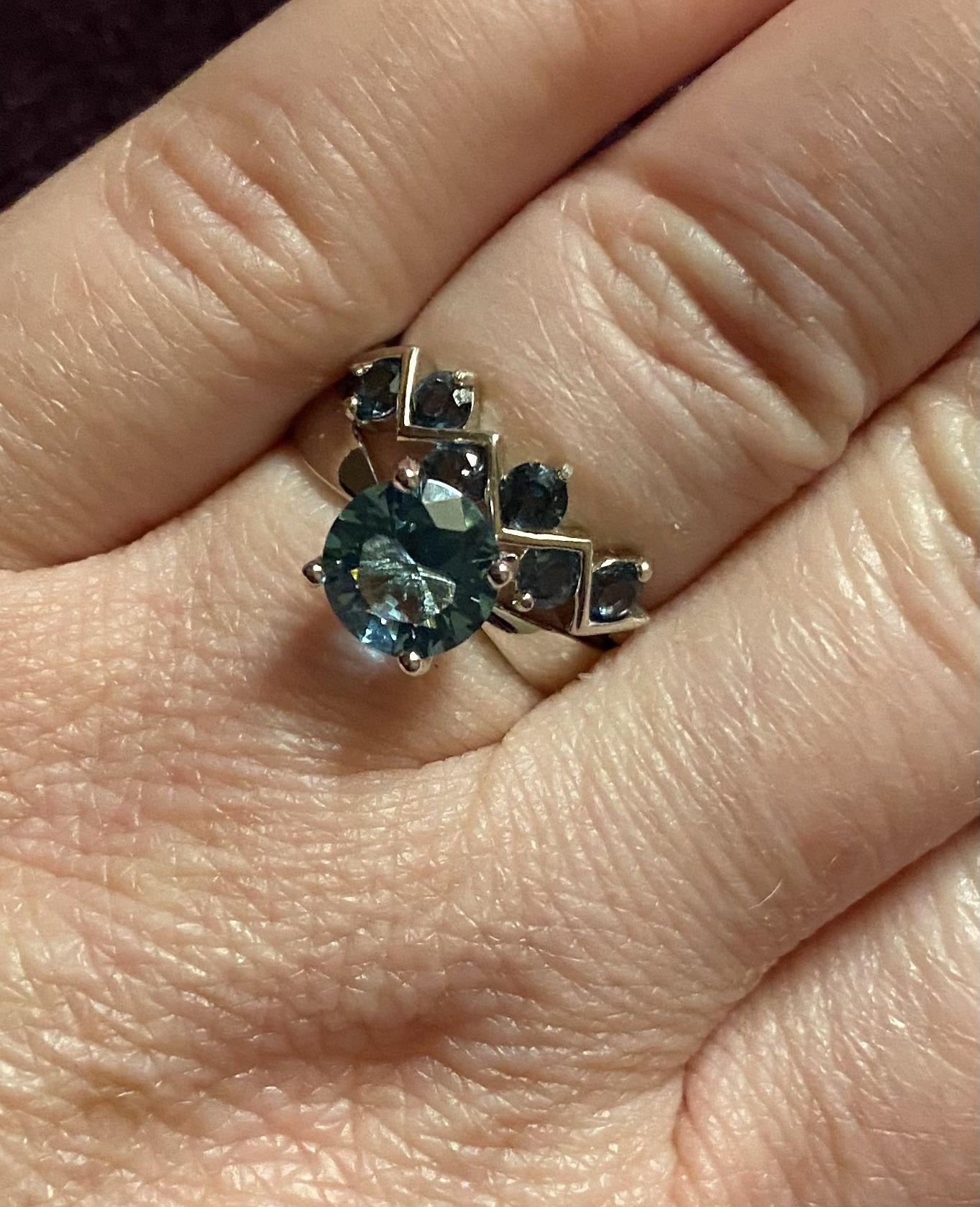 Elegant Unique Natural London Blue Topaz Zig Zag Silver Ring S925