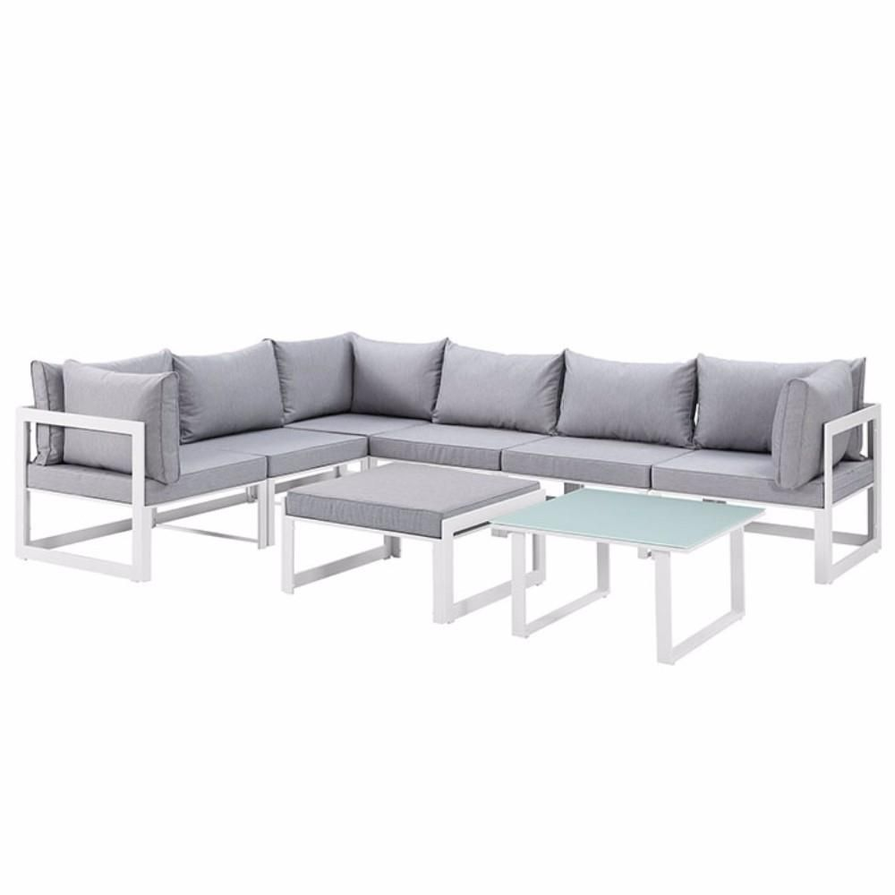 """Fortuna 8 Piece Outdoor Patio Sectional Sofa Set, White Gray Size : 90""""Lx120""""Wx32.5""""H"""