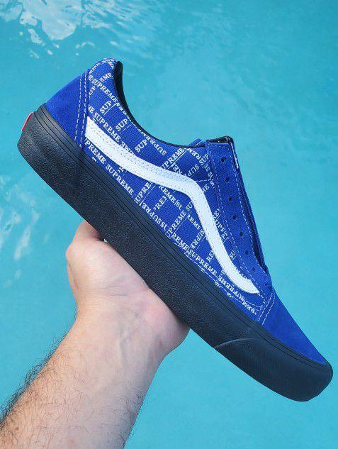 "NEW + RECEIPT | Supreme x Vans Old Skool Pro ""Blue Grid Logo"" Size 10"