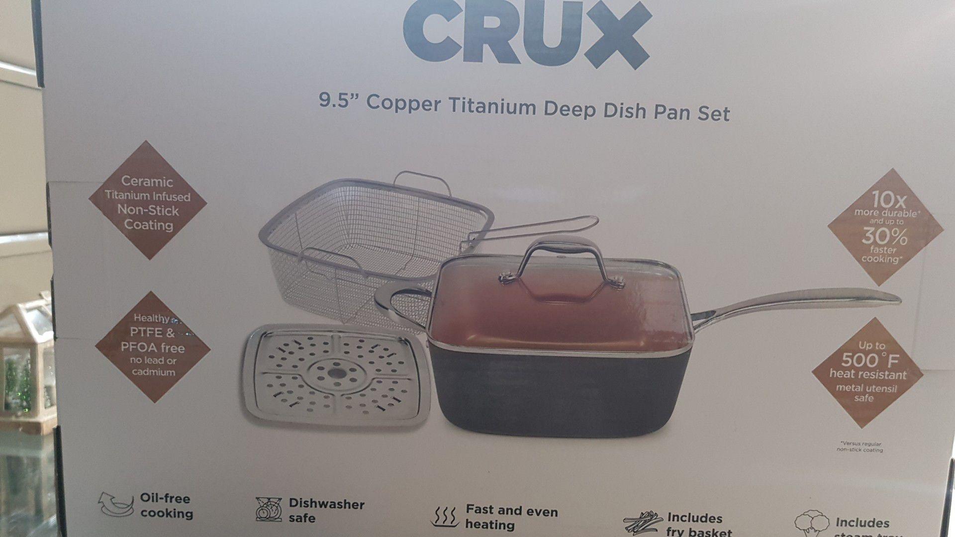 "CRUX 9.5"" COPPER TITANIUM DEEP DISH PAN SET"