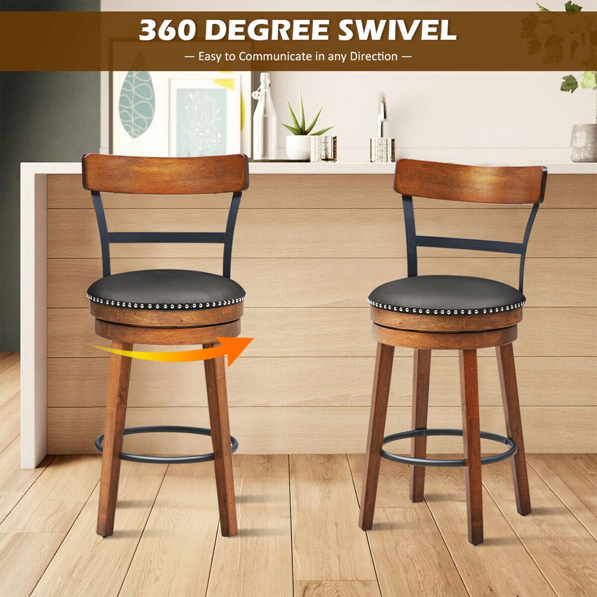 Costway Set of 4 BarStool 25.5'' Swivel Counter Height Dining Chair with Rubber Wood Legs