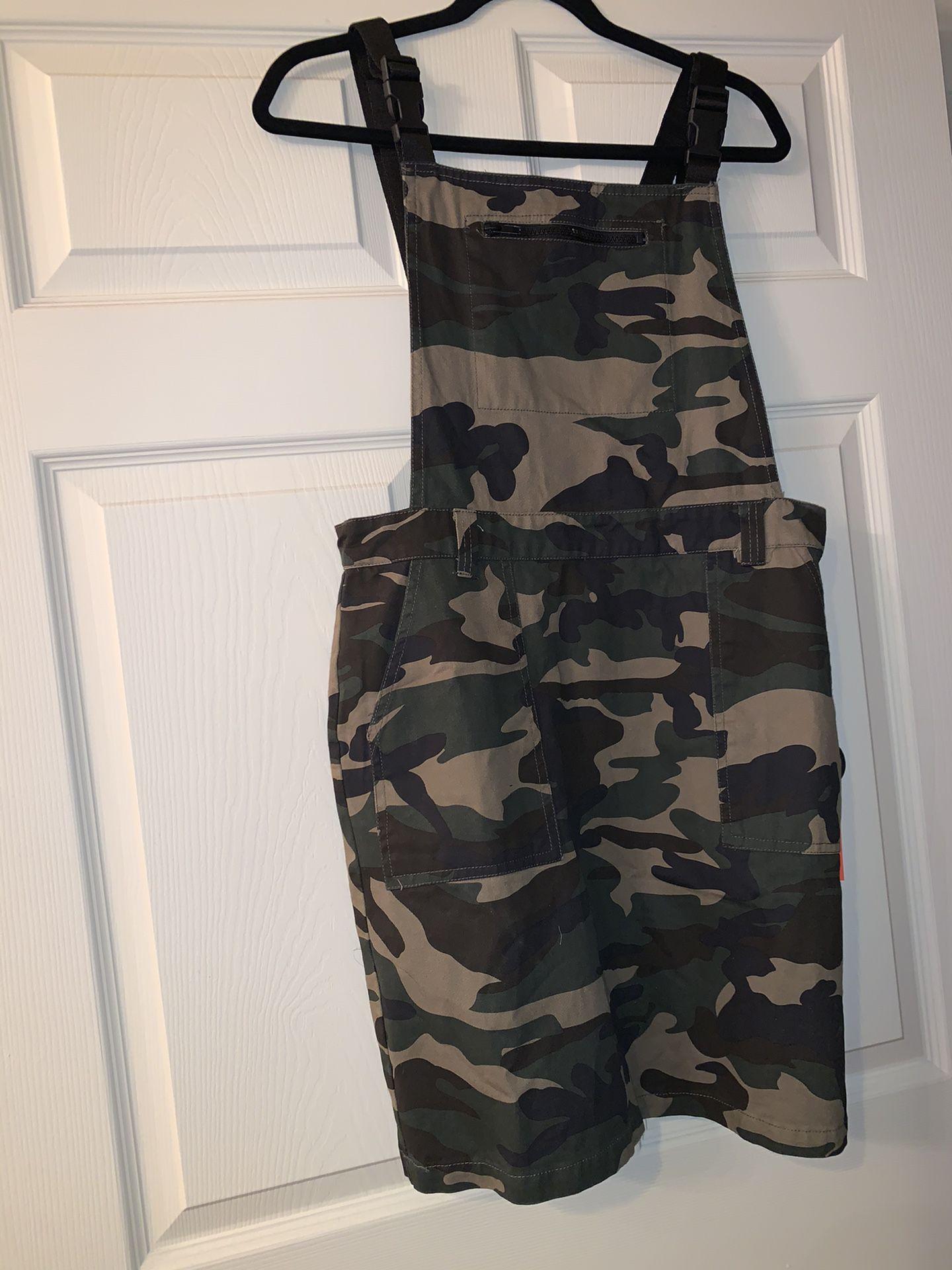Camo Buckle Overall Dress