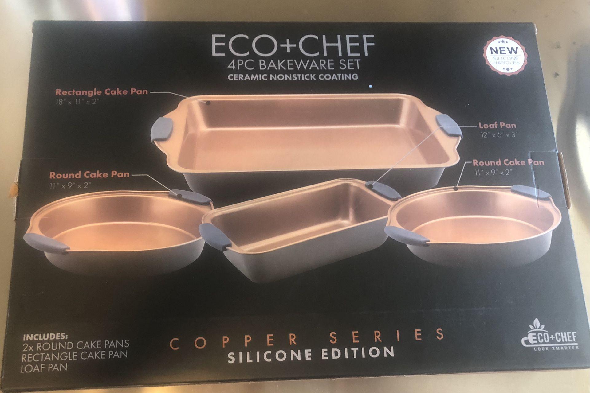 Eco Chef 4 Piece Bakeware Set Ceramic Non Stick Coating Silicone Handles